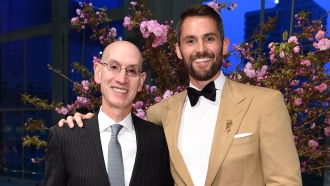 NBA Commissioner Adam Silver and Cavaliers forward Kevin Love