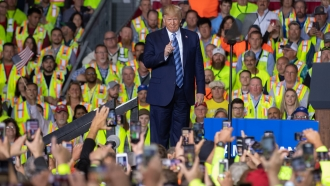 US President Donald Trump speaks to 5000 contractors at the Shell Chemicals Petrochemical Complex on August 13, 2019