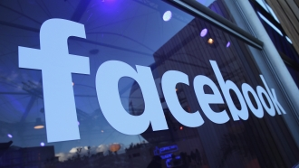 Facebook on glass window