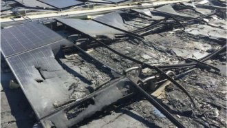 Solar panel damage at a Walmart store