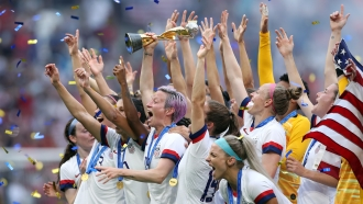 The U.S. Women's soccer team celebrates their FIFA Women's World Cup win