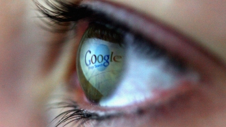 Google logo reflected in eye