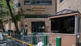 The entrance to the Metropolitan Correctional Center in New York
