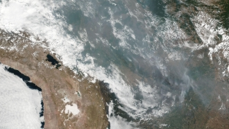 Wildfire smoke over Brazil