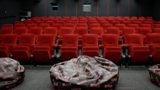 Empty chairs in Netflix screening room