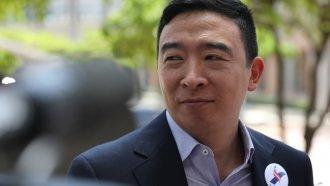 Andrew Yang speaks to media ahead of the first Democratic debate.