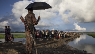 People fleeing Myanmar