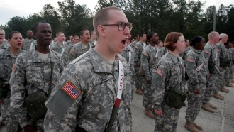 Soldiers in Army basic training