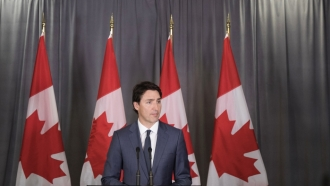 Canadian Prime Minister Justin Trudeau at a news conference at the Canadian Consulate General, May 17, 2018 in New York City