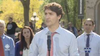 Canadian Prime Minister Justin Trudeau at a press conference on Sep. 19, 2019.