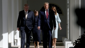 President Donald Trump walking at The White House after announcing Iranian sanctions