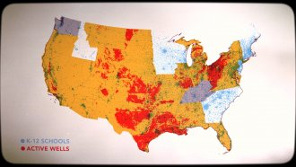 US map of schools and oil/gas wells