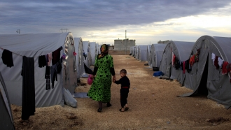 A Kurdish refugee mother and son in a camp in southeastern Turkey