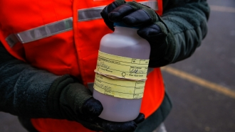 A water sample contaminated with lead