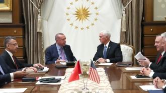 Turkish President Recep Tayyip Erdoğan and U.S. Vice President Mike Pence