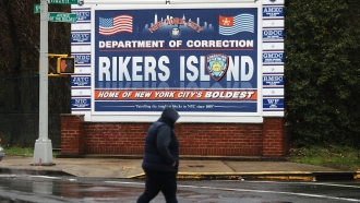 Sign for Rikers Island jail complex