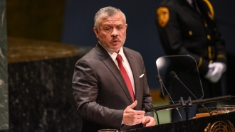 King Abdullah II bin Al Hussein of Jordan speaks at the United Nations General Assembly on September 24, 2019