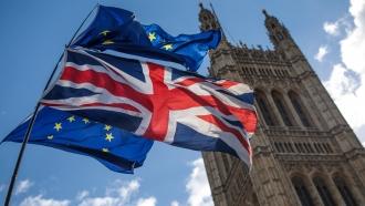 U.K. and EU flags outside Parliament