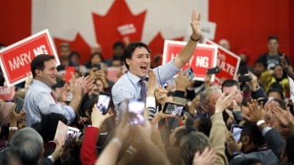 Liberal Leader and Canadian Prime Minister Justin Trudeau in a campaign rally ahead the federal election, on October 18, 2019