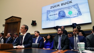 Facebook CEO Mark Zuckerberg answers questions at a House Financial Services Committee Hearing on October 23, 2019