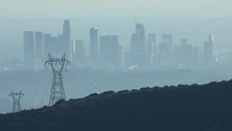 Smog over Los Angeles skyline