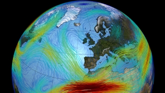 A model rendering of the jet stream over Europe
