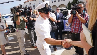 Navy Special Operations Chief Edward Gallagher celebrates after being acquitted of premeditated murder