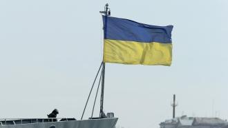 File image of a Ukrainian flag on a naval ship