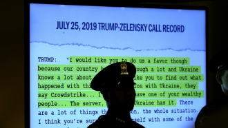A transcript of a call between Donald Trump and Ukrainian President Volodymyr Zelensky is shown at impeachment proceedings.