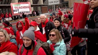 """Protesters at the """"Red For Ed Action Day"""" rally in Indianapolis."""