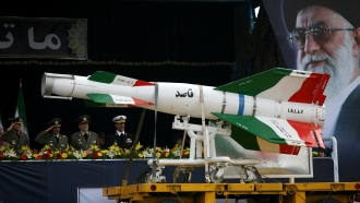 Missile on display in Iranian military parade.