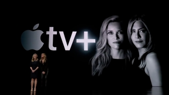 Actresses Reese Witherspoon and Jennifer Anniston help introduce Apple TV Plus.