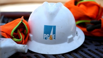 A PG&E hard hat