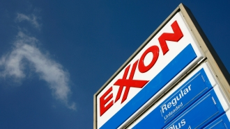 An Exxon gas station sign