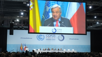 United Nations Secretary-General Antonio Guterres speaks at UN climate summit in Madrid.