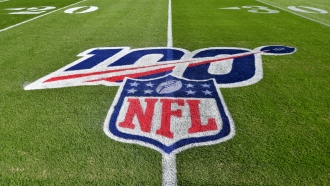 The NFL logo painted on a field
