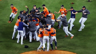 Houston Astros celebrate 2017 World Series win over Los Angeles Dodgers.
