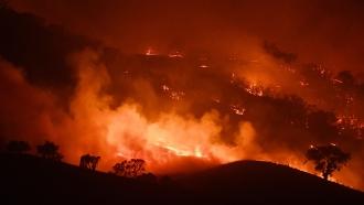 Australia bushfire at night