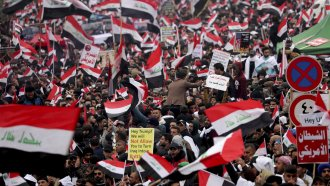 Followers of Shiite cleric Muqtada al-Sadr gather in Baghdad, Iraq.