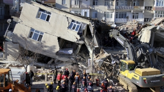 A collapsed building in Turkey.