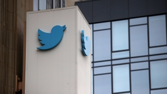 Twitter sign on building