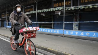 A man wearing a mask in China