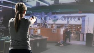Teacher Holli Averett in an active shooter simulation