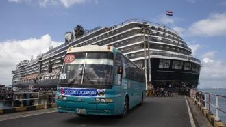 The Westerdam cruise ship docked in Cambodia