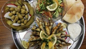 A spread of Mediterranean food