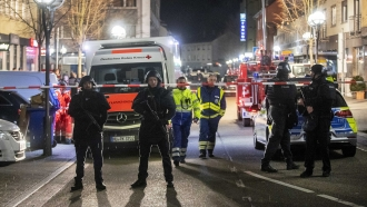Police in central Hanau, Germany after shootings