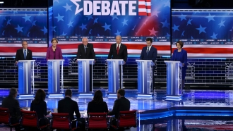 Democratic presidential candidates on Las Vegas debate stage.