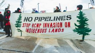 Demonstrators protest pipeline construction