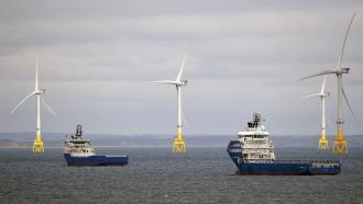 Wind turbines off the coast of Scotland