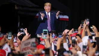 President Donald Trump at a campaign rally